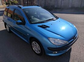 Peugeot 206 SW XT 1.4 Estate with sunroof, 2002, Only 52k Miles! MOT until 15/6/18