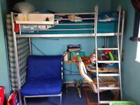 High sleeper (single) with pullout futon bed and desk £30