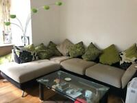 Large corner sofa + coffee table + floor lamp