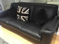 3 and 2 seater-timfors Ikea black leather sofa