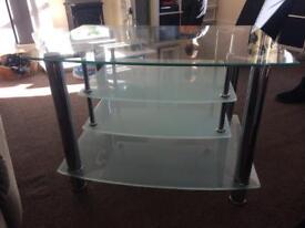 Crome & glass tv unit
