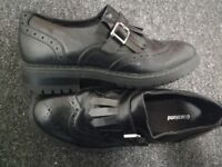 Brand New Black Leather Brogue Loafers