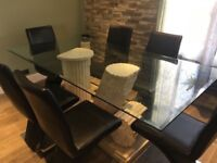 Dining Table , Coffee Table , 6 Chairs & 2 Side Tables ( DFS ) Marble Effect