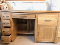 Natural solid oak large computer desk