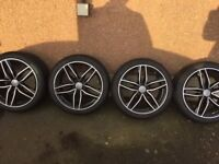 "AUDI RS DIAMOND CUT 18"" ALLOY WHEELS / 235 40 TYRES also fit MERCEDES"
