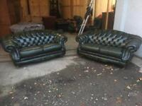 Pair of green Thomas Lloyd Chesterfield sofas * free furniture delivery *