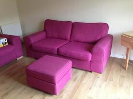 3 + 2 seater sofa for sale + footstool (excellent condition)