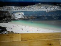 Beautiful picture of St. Ives Harbour and nearby beaches set on landscape canvas NEW and wrapped
