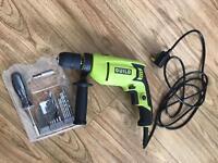 Guild 13mm Keyless Corded Hammer Drill - 750W + Bosch 27 Piece Hand Screwdriver and Bit Set