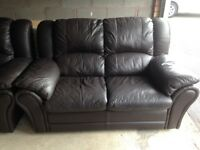 chocolate brown 2-seater leather sofa - good condition - £50 o.n.o