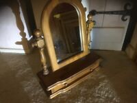 Pine Dressing table mirror with drawer.