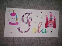 Handmade Kids names Button Art