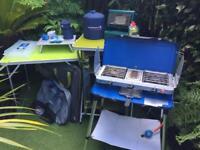 Campingaz stove, light, 2 x table, storage unit, gas heater