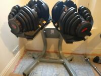 Bowflex 4 - 41KG adjustable dumbells - BowFlex Stand - Gym standard bench - Everything you need