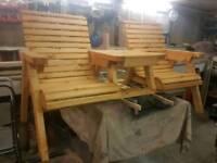 Hand crafted wooden garden bench
