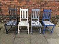 Vintage rustic oak dining chairs. Shabby chic/boho/distressed. Mix & match eclectic.