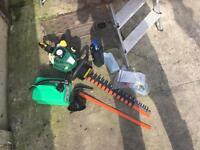 Petrol hedge trimmer & ladder