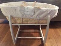 Moses Basket, Linen and Rocking Stand