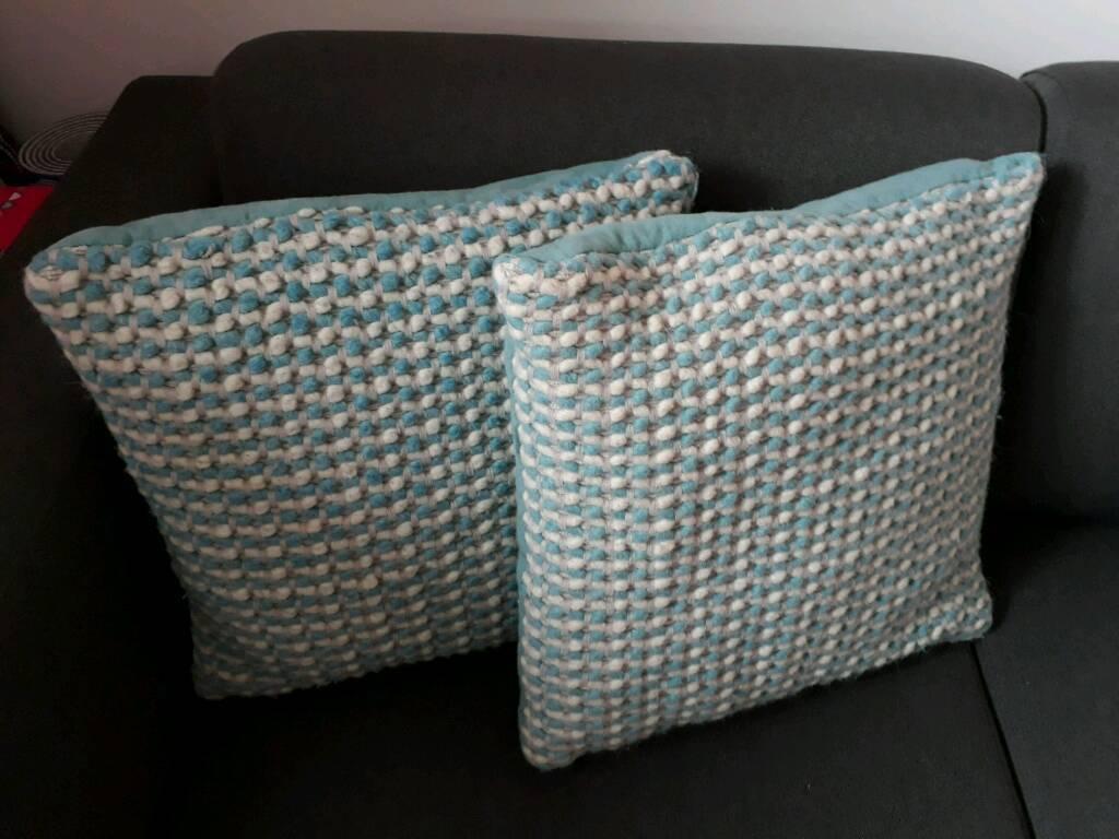 NEXT blue and white cushions pair