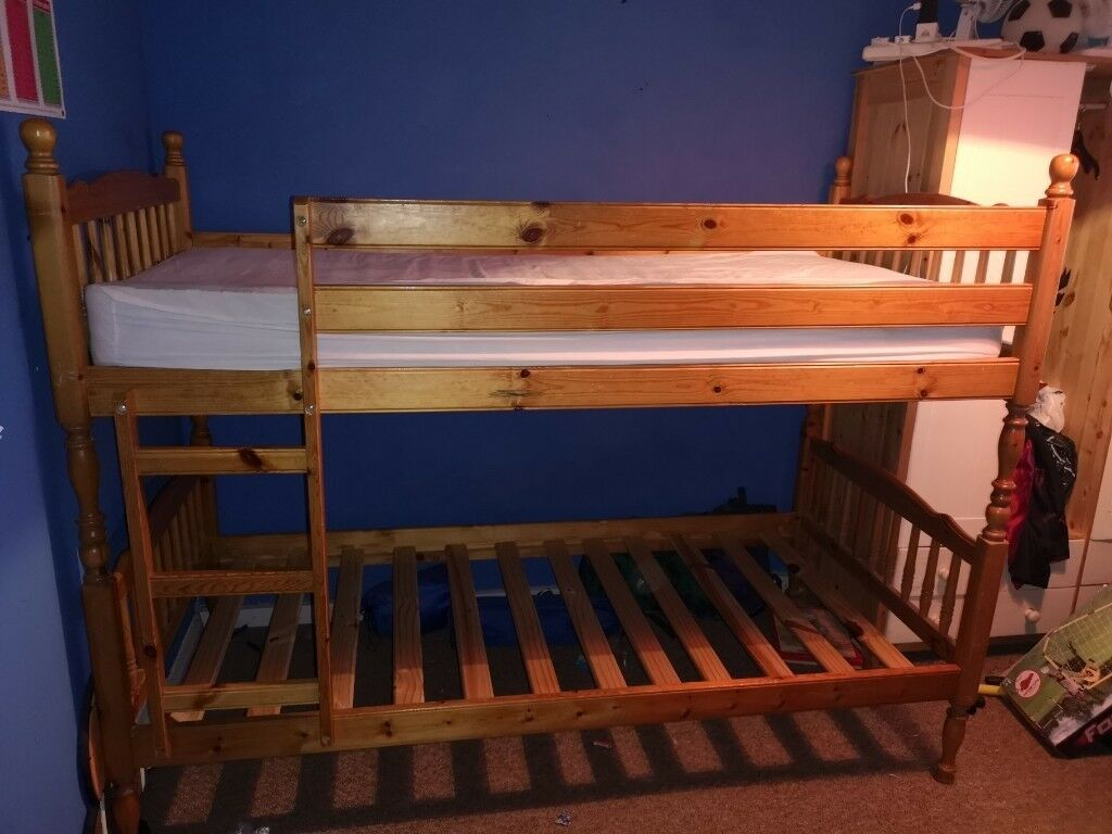 Used Wooden Bunk Bed For Sale All Hardware And One Mattress With It
