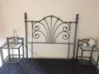 Headboard for double bed with matching bedside tables