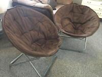 Two brown comfy foldable chairs