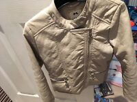 Girles cream leather look jacket size 9/10