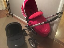 Silver cross red pram and car seat