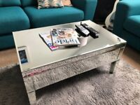 Chic mirrored coffee table with storage - mirror table