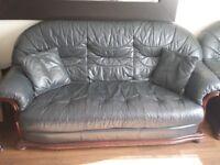 Genuine Leather Sofa Set 3seater/2 seater/single seater + pouffe