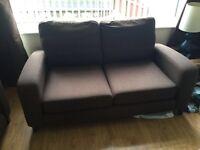 2&3 seater chocolate brown sofa