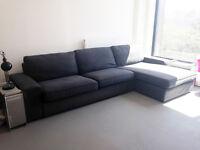 IKEA Three-seat sofa and chaise longue (Kivik series) dark grey