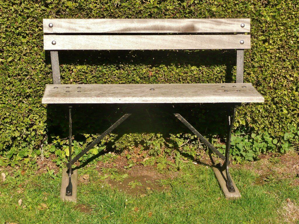 Solid Wood And Black Cast Iron Frame Garden Bench Seat Chair