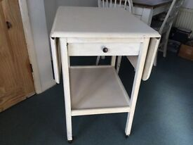 LOVELY SOLID OAK RARE FOLDING TABLE ON CASTERS WITH DRAWER
