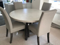 Harvey Lexham Concrete Dining table with 4 chairs