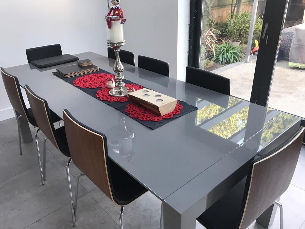 Brand new boxed madecom bramante extending dining table matt grey
