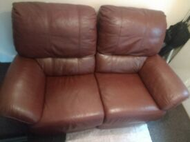 leather 2 seater sofa medium brown color