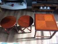 Antique coffee/side tables- one table with two small round pull out tables. In beautiful condition