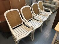FOUR WOODEN AND WICKER BACK PAINTED CHAIRS IN NEED OF TLC