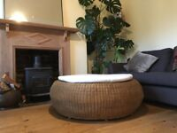 Round rattan seat for garden or home