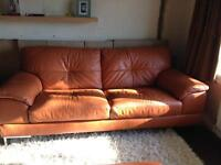 DFS Leather sofa and footstall