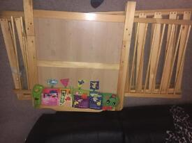 Cot bed, pink baby bath, changing mat, Moses basket, job lot, all very good condition.
