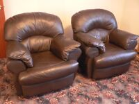 2 Excellent Divani Italian Leather Armchairs