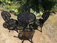 CAST ALUMINIUM GARDEN SET --TABLE AND 4 CHAIRS --VICTORIAN STYLE --