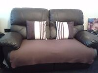 2 Seater Brown Faux Leather Reclining Sofa