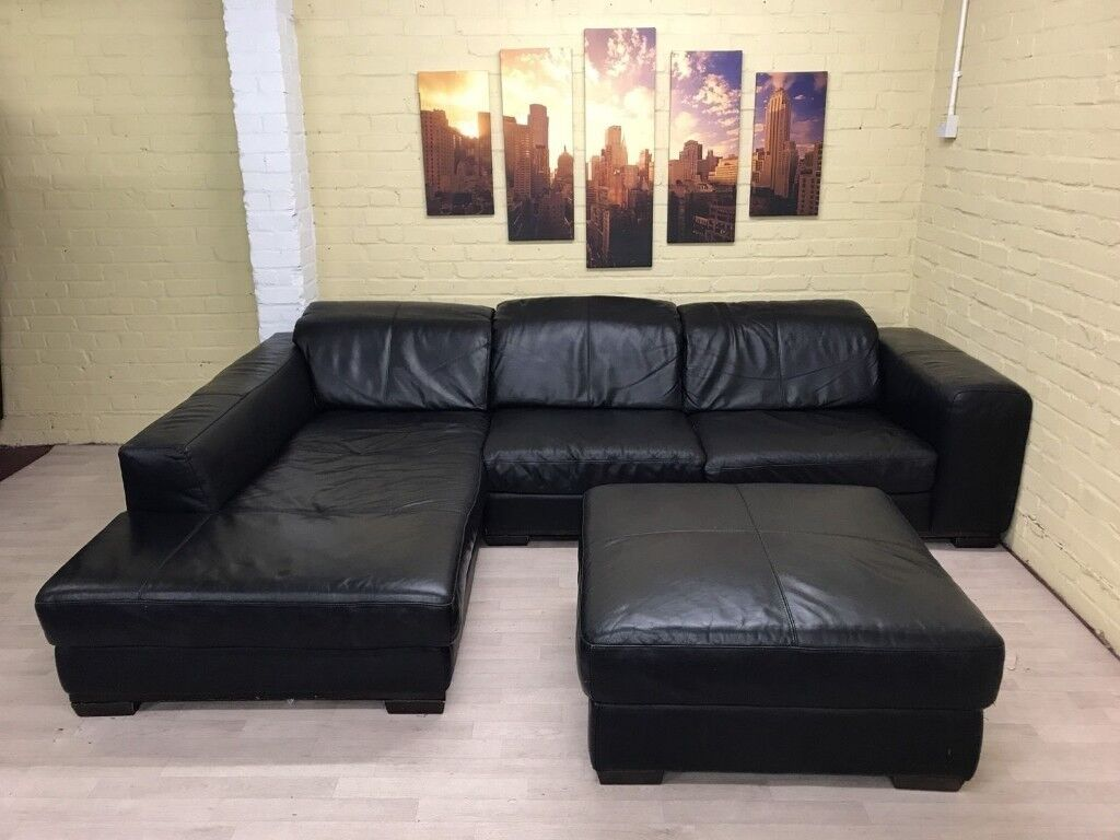 Big Comfy Black Leather Corner Sofa