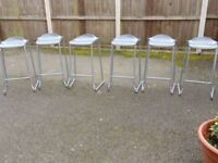 set of six heavy duty commercial grade stackable bar stools breakfast bar chair