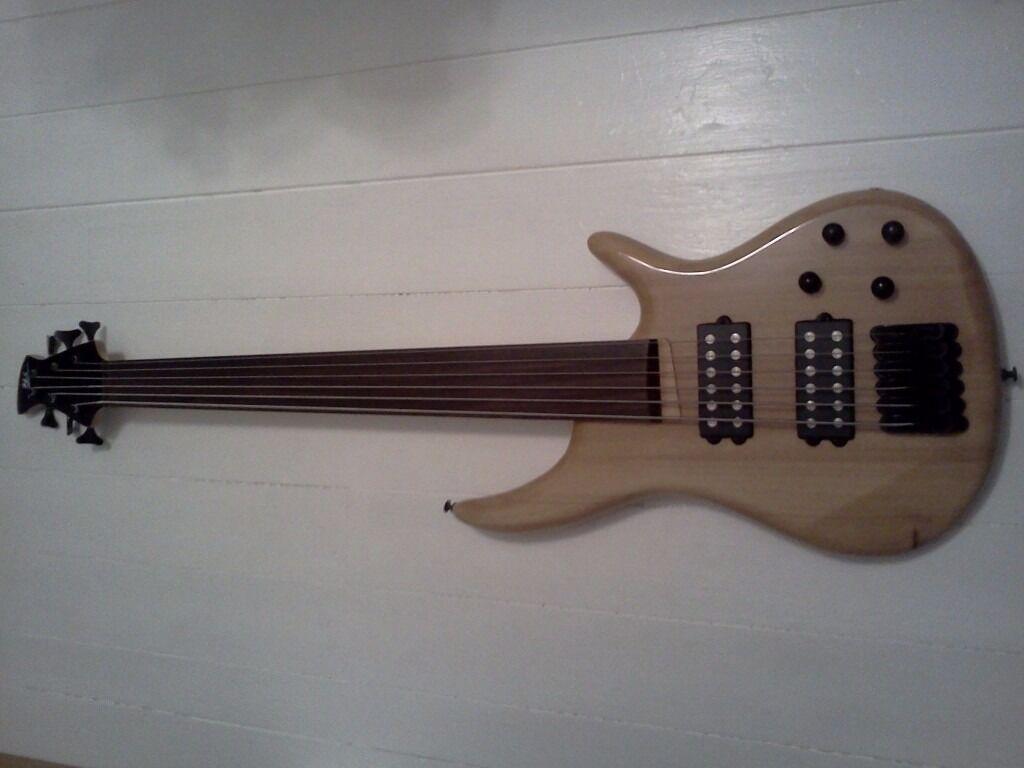 HS 6 String Fretless Bass Guitar