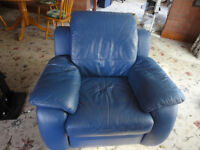 3 pieces - 2 BLUE LEATHER RECLINER ARMCHAIRS WITH MATCHING LEATHER FOOTSTOOL - VERY GOOD CONDITION