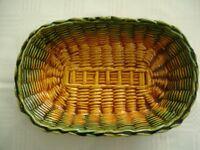 VINTAGE FRENCH VALLAURIS OBLONG FRUIT BOWL IN A GREEN & GOLD BASKET WEAVE DESIGN